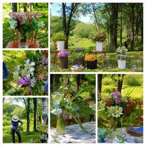 椛咲先生の毎年7月の野の花を摘んでの野外ブーケレッスンのお写真です